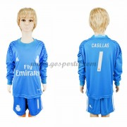 Real Madrid maillot de foot enfant 2016-17 Casillas 1 gardien de but maillot domicile manche longue..